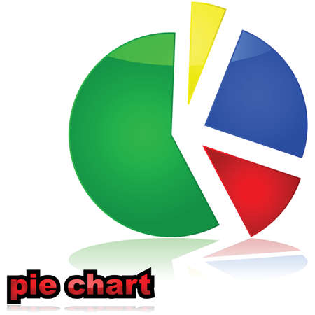 Glossy illustration of a colorful pie chart graph 向量圖像