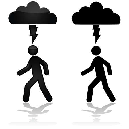 Concept illustration showing a person walking under a cloud with a lightning bolt Vettoriali