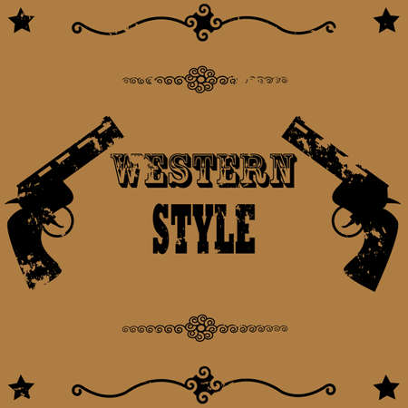 brown background: Concept illustration showing a vintage poster background image with two guns and the words Western Style