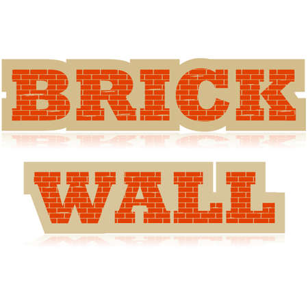 Concept illustration showing the words Brick Wall made up of bricks