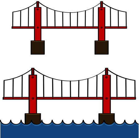 bridge construction: Cartoon illustration showing a bridge standing by itself and over water