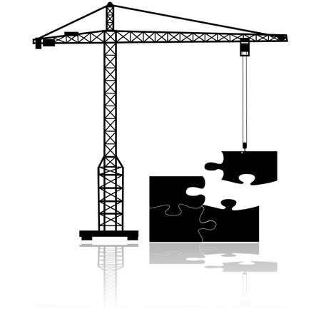 complete solution: Concept illustration showing a crane moving the final missing piece to complete a puzzle