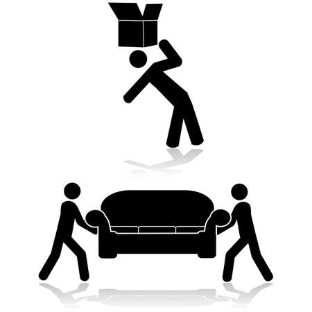 Icon set showing a couple of people moving a sofa and another moving a box