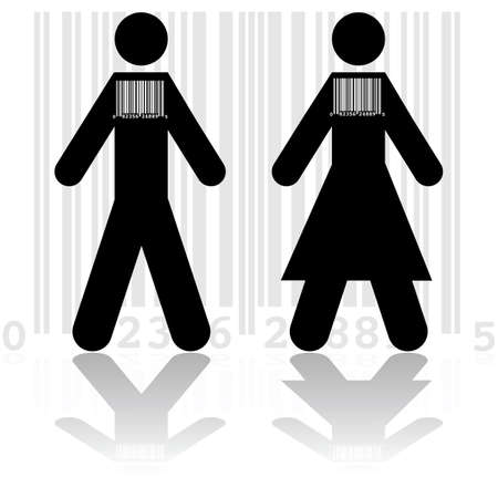 convince: Concept illustration showing a couple wearing barcodes, to represent the commodification of modern society Illustration