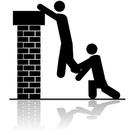 burglar man: Icon illustration showing a person helping to lift another over a brick wall