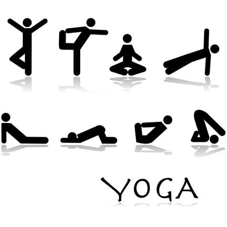 Icon set showing different yoga poses performed by stick figures Illusztráció