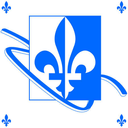 Background illustration showing a Quebec fleur-de-lys in blue and white with a ribbon around it Illustration