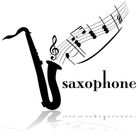 Concept illustration showing a saxophone with musical notes floating out of it Illustration