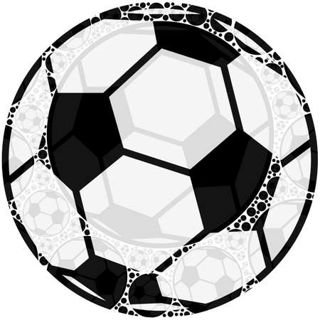 smaller: Concept illustration showing a soccer ball made up of smaller balls