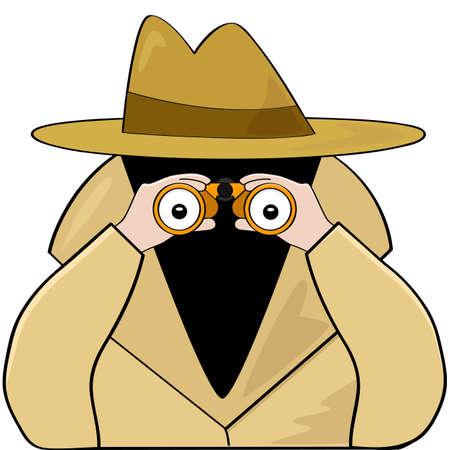 Cartoon illustratie van een spion dragen van een regenjas met een had en met behulp van een verrekijker op zoek naar iets