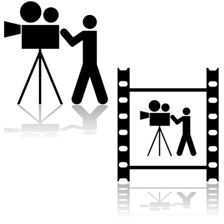 video camera icon: Icon illustration showing a man operating a film camera, within a film strip or by itself  Illustration