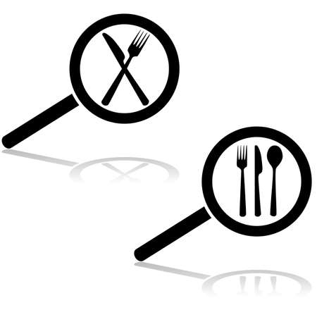 Icon illustration showing a magnifying glass searching for a restaurant (cutlery) Vector