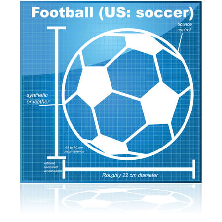 Concept illustration showing the blueprint of a soccer (football) ball 向量圖像