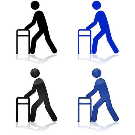 old people: Icon illustration showing a person using a walking aid