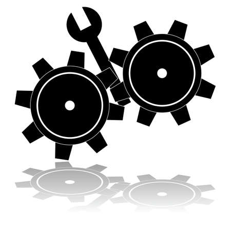 sabotage: Concept illustration showing a wrench getting stuck in the wheels of a gear mechanism Illustration