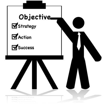 reflection: Icon illustration showing a businessman making a presentation about business objectives