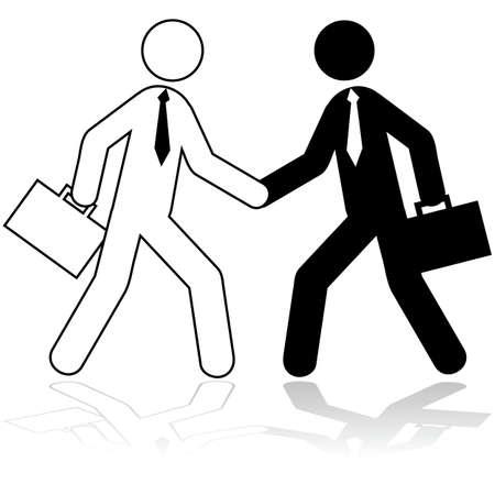 compromise: Ilustraci�n del icono que muestra dos figuras de palo vestido como los hombres de negocios d�ndose la mano