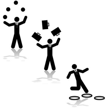 Ilustración del concepto que muestra un hombre de negocios bolas de malabares, maletas o saltar a través de aros