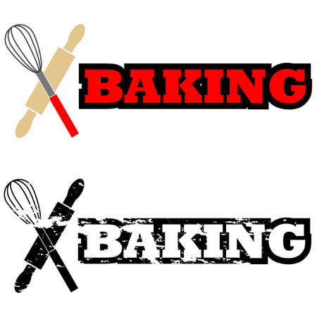 Icon illustration showing some kitchen utensils beside the word Baking