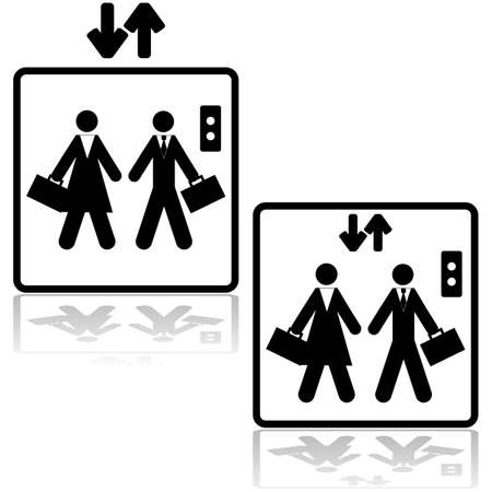 people in elevator: icon illustration showing a businessman and a businesswoman inside an elevator Illustration
