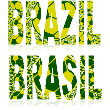 Concept illustration showing the word Brazil  with its equivalent Brasil in the country