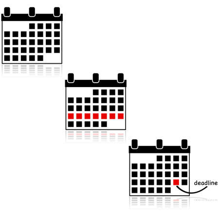 week: Icon set showing calendars, with one of them highlighting a special week and another one highlighting a deadline Illustration