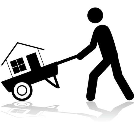 owning: Concept illustration showing a man carrying a house with a wheelbarrow Illustration