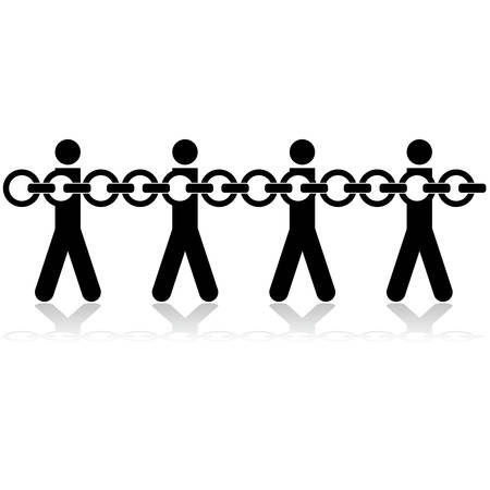 Concept illustration showing stick figures chained to each other