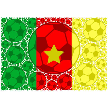 Concept illustration showing the flag of Cameroon made up of soccer balls