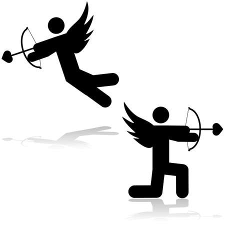 Icon illustration showing a cupid stick figure aiming an arrow with a heart-shaped tip Иллюстрация