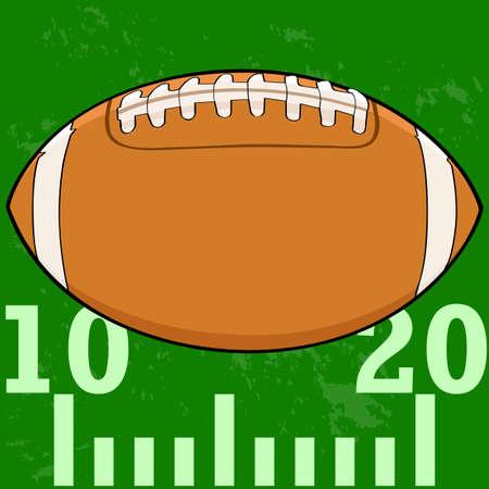 Cartoon illustration of an American Football on a field Illustration