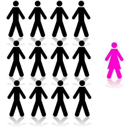 Concept illustration showing a pink woman being singled out from a man crowd