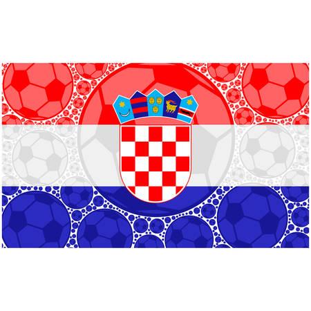 Concept illustration showing the flag of Croatia made up of soccer balls Ilustração