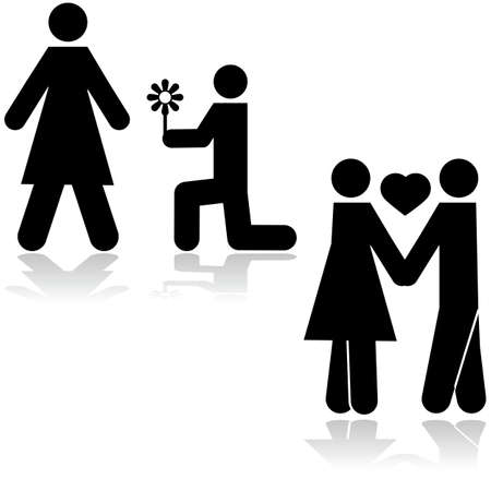propose: Icon illustration showing a man kneeling with a flower in front of a woman and then the couple holding hands Illustration