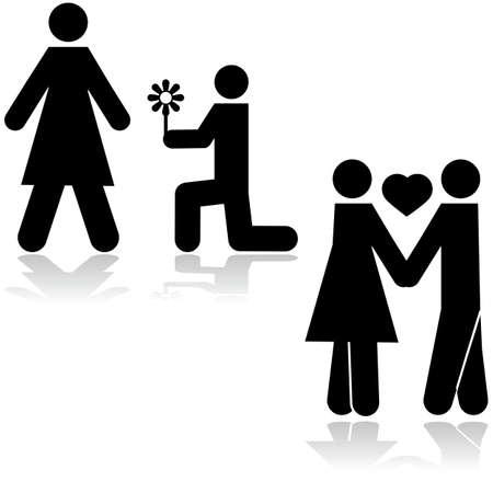 Illustratie toont een man geknield met een bloem in de voorkant van een vrouw en dan de paar hand in hand Stock Illustratie