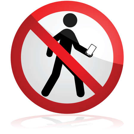 Concept illustration showing a forbidden sign over a man who's walking and looking down at his phone