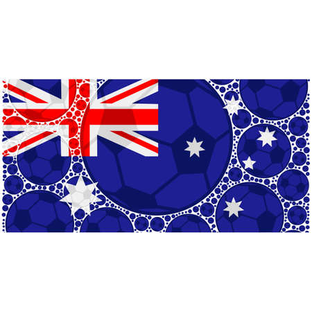 oceania: Concept illustration showing the flag of Australia made up of soccer balls