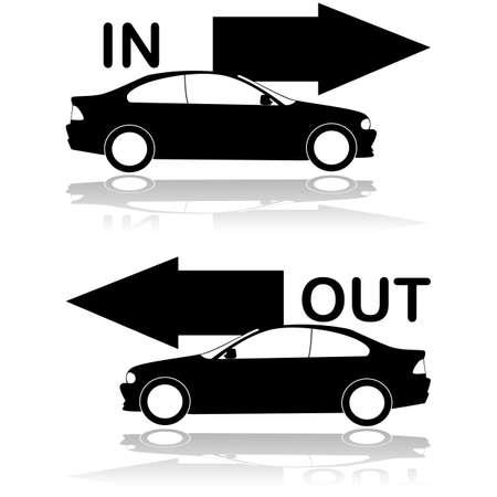 車の入り口を示す車出口のアイコンを設定