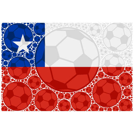 Concept illustration showing the flag of Chile made up of soccer balls