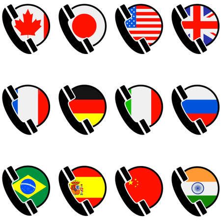 Icon set showing a phone handset along with flags for different countries Illustration