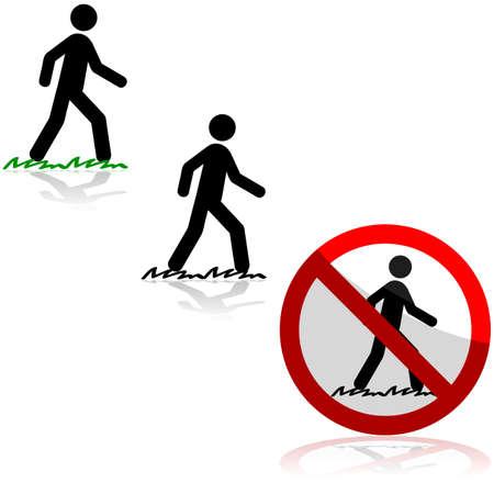 Icono de conjunto muestra a un hombre caminando sobre la hierba y un letrero que decía que
