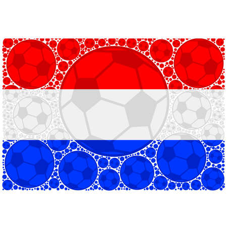 Concept illustration showing the flag of the Netherlands made up of soccer balls