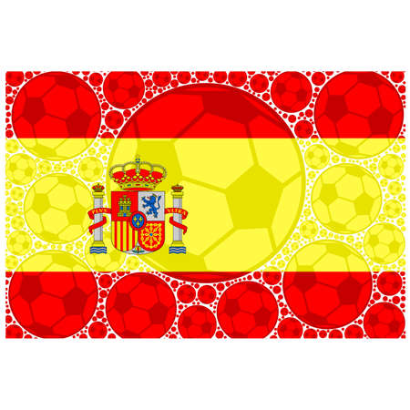 made in spain: Concept illustration showing the flag of Spain made up of soccer balls