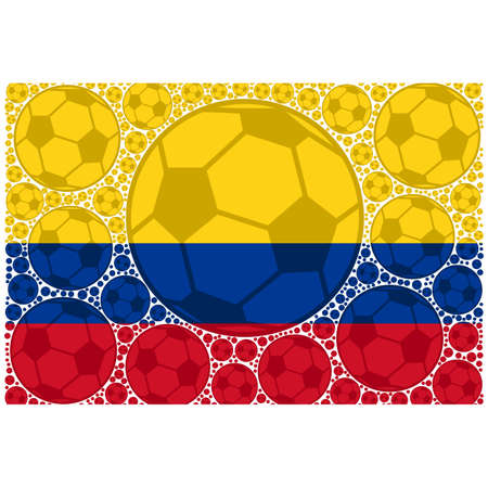 Concept illustration showing the flag of Colombia made up of soccer balls Ilustrace