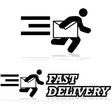Concept illustration showing a man running carrying an envelope