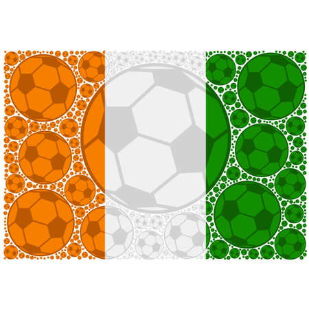 Concept illustration showing the flag of the Ivory Coast made up of soccer balls Ilustrace