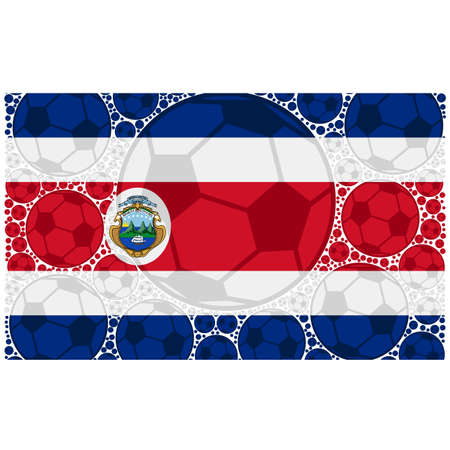 Concept illustration showing the flag of Costa Rica made up of soccer balls