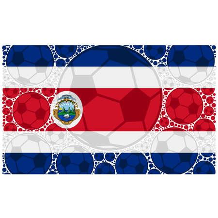 bandera de costa rica: Ilustración del concepto que muestra la bandera de Costa Rica formada por balones de fútbol Vectores