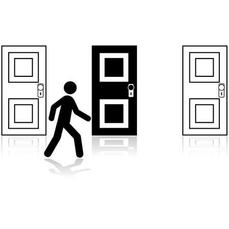 Concept illustration showing a man choosing between three closed doors Vector