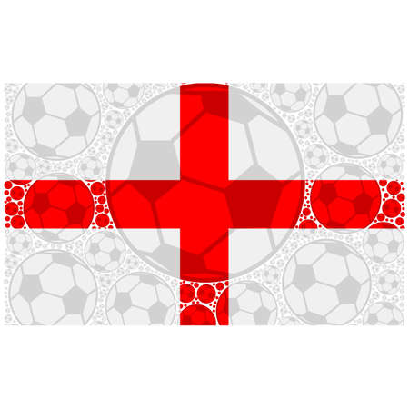Concept illustration showing the flag of England made up of soccer balls